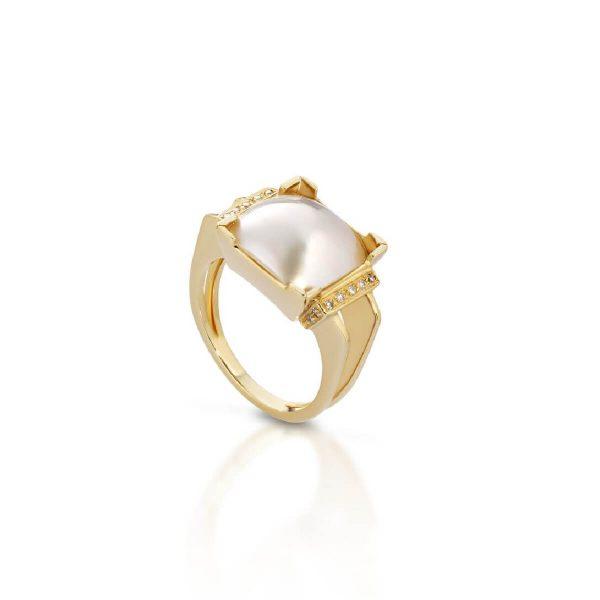 Mabé pearl diamond ring