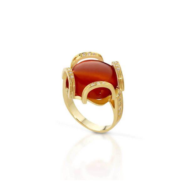 Cornelian and cubic zirconia ring