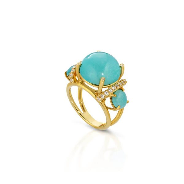 Reconstituted turquoise and diamond ring