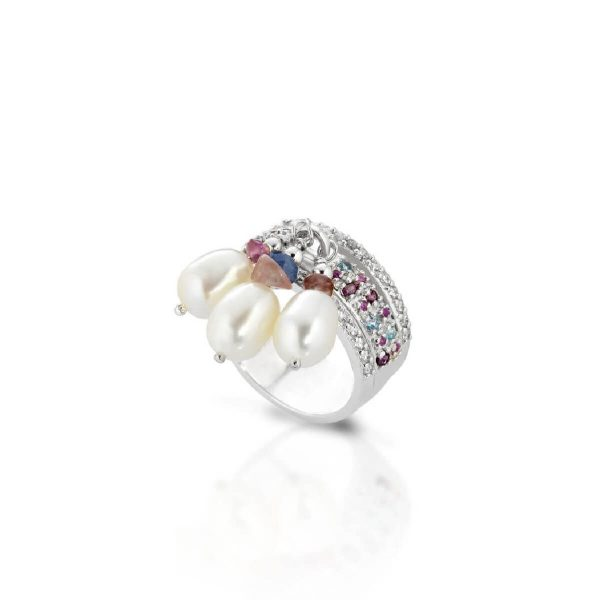 Fresh water pearl, rhodolite, blue topaz and tourmaline ring