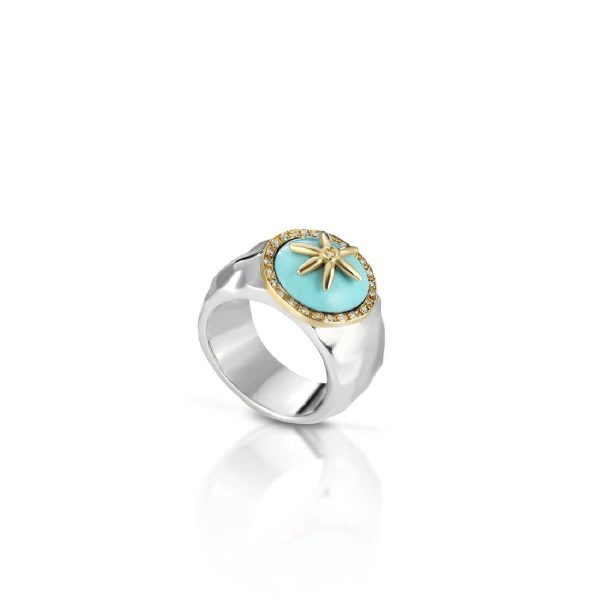 Diamond and turqouise ring