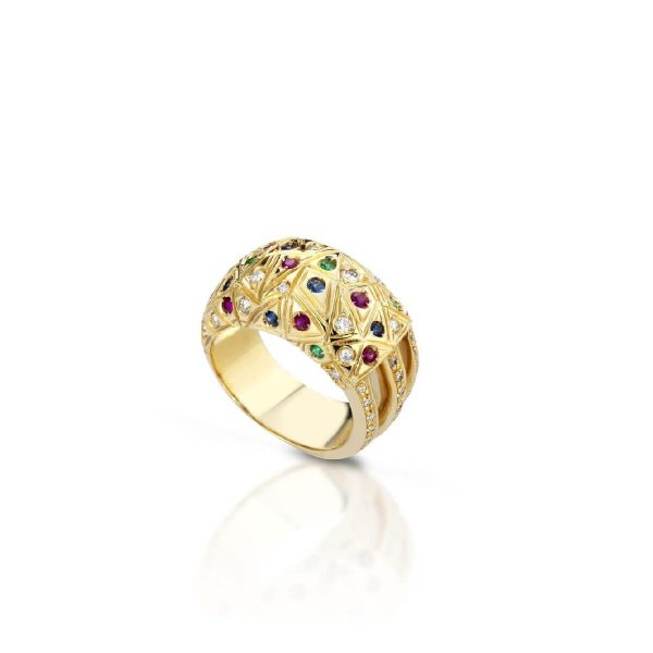 Emerald, sapphire, ruby and diamond ring