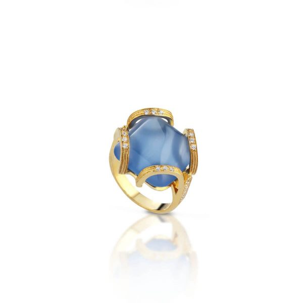 Blue agate and cubic zirconia ring
