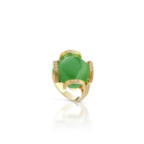 Jade and cubic zirconia ring