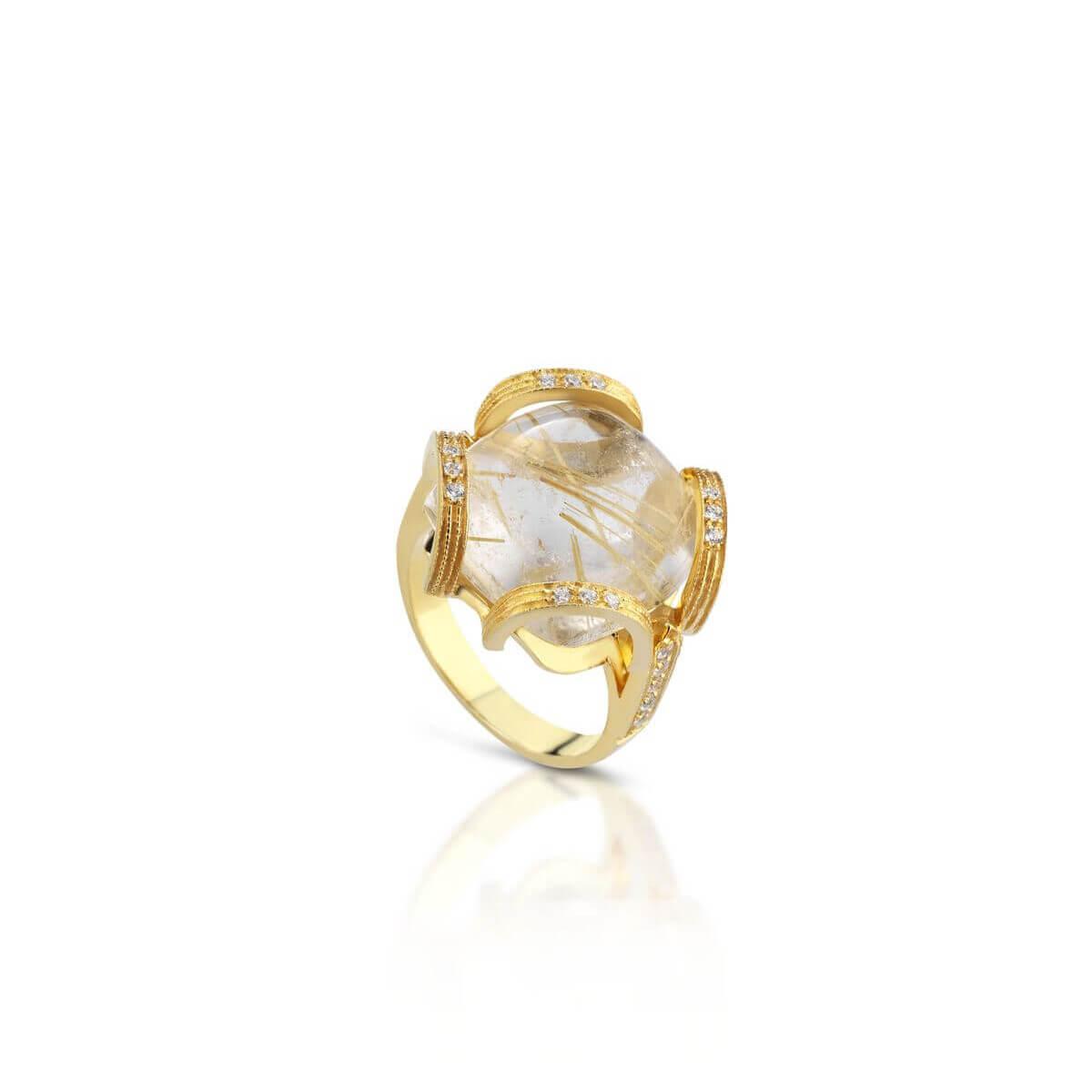 Rutiled quartz and cubic zirconia ring
