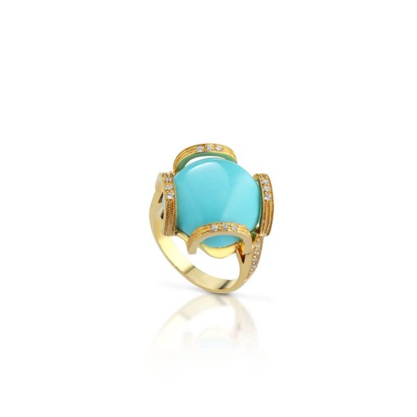 Turquoise and cubic zirconia ring