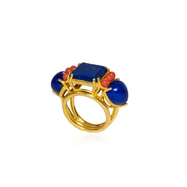 Lapis lazuli and red coral ring