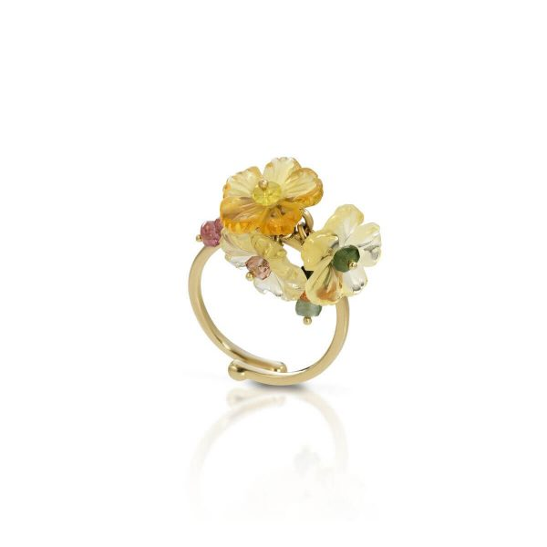Hydrothermal quartz, tourmaline Flower-En ring