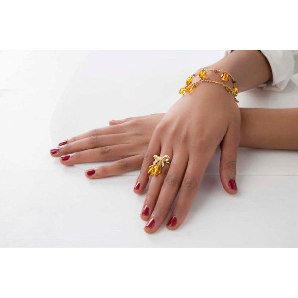 Anello con quarzi idrotermali, diamanti e tormaline