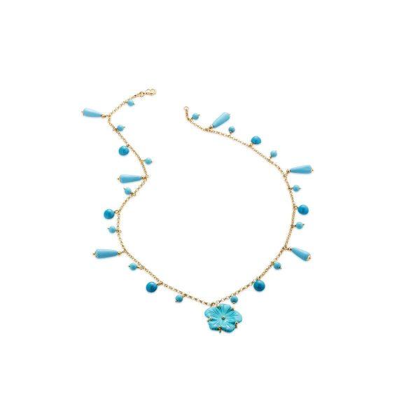 Collana con fiore e perline di turchese ricostituito