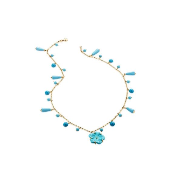 Reconstituted turquoise Flower-En and bead necklace