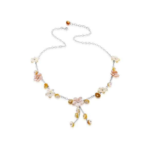 Mother of pearl Flower-En and bead necklace