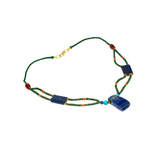 Lapis lazuli, coral, carnelian, jade and turquoise necklace
