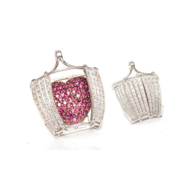 Collana con diamante e rubini