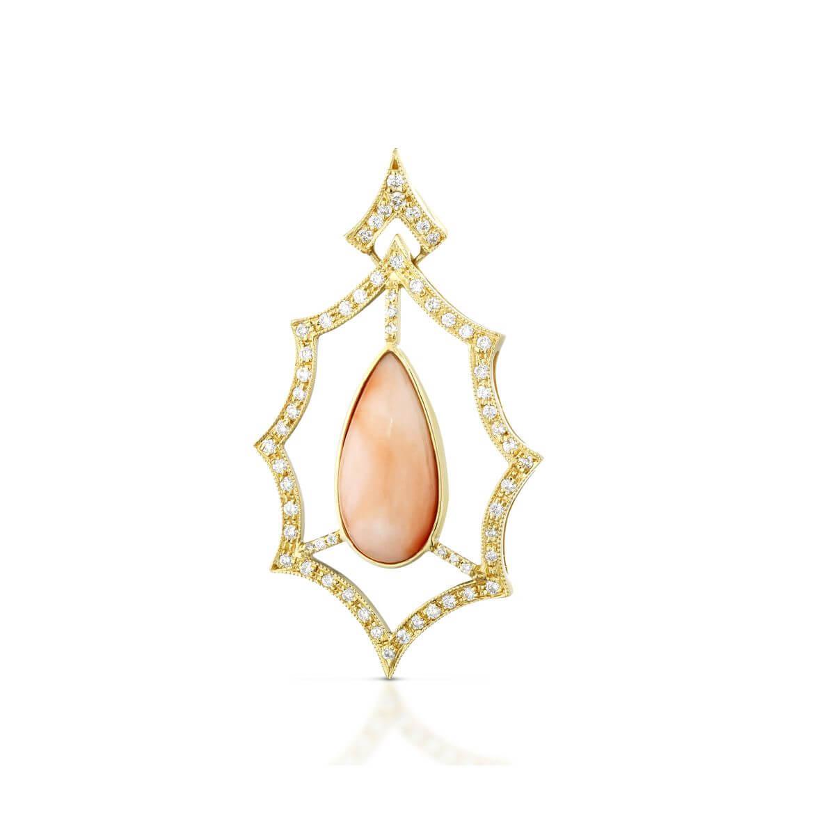 Ciondolo con corallo rosa e diamanti