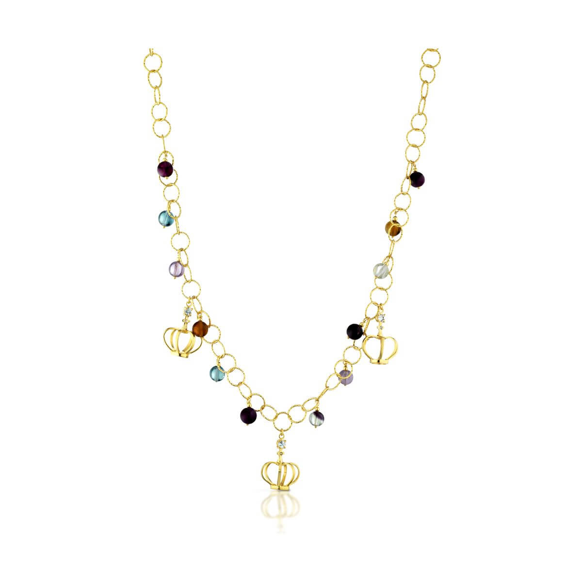 Fluorite and blue topaz necklace