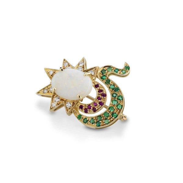 Opal, diamond, emerald and ruby brooch