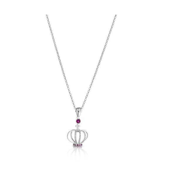 Collana con corona, rubini e diamanti