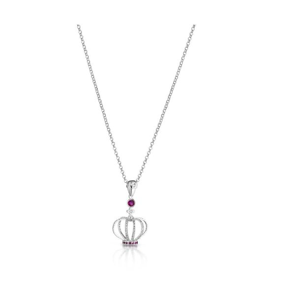 Ruby and diamond crown necklace