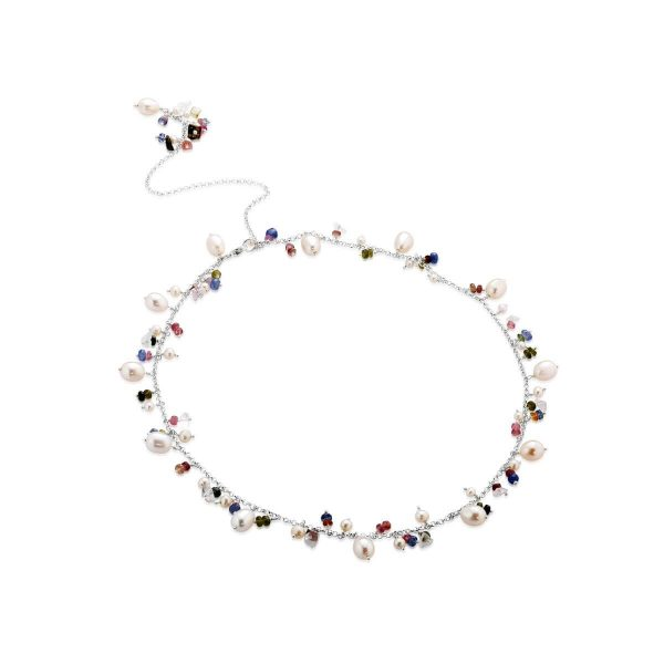 Fresh water pearl  and tourmaline necklace
