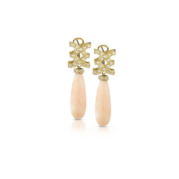 Pink coral and diamond earrings