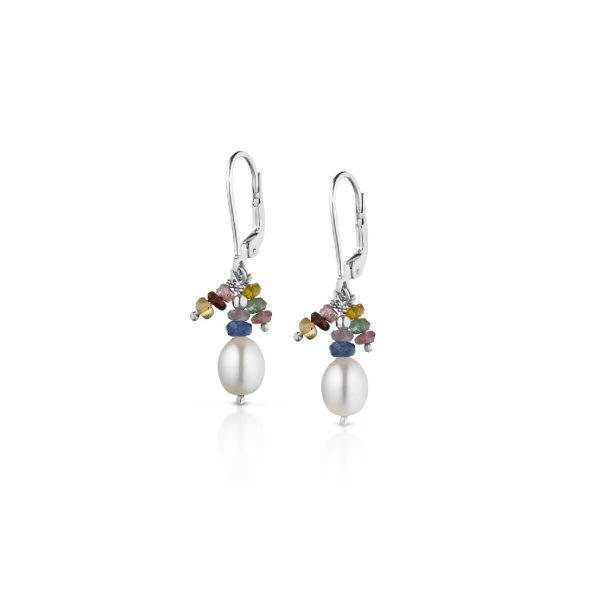Fresh water pearl and tourmaline earrings
