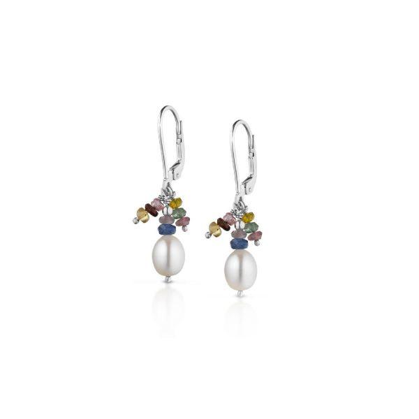 Orecchini con perle di fiume e tormaline