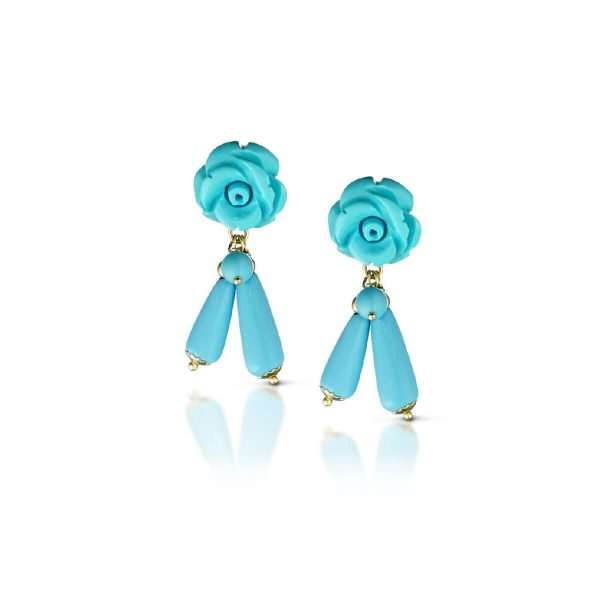 Reconstituted turquoise Flower-En earrings