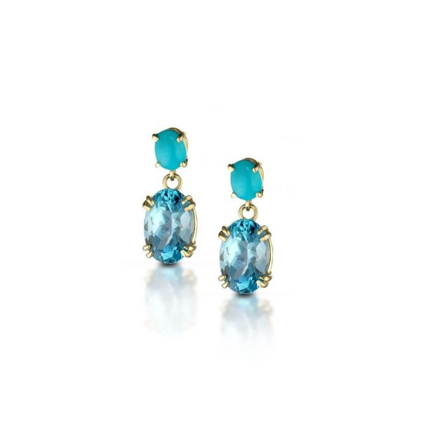Reconstituted turquoise and blue topaz earrings