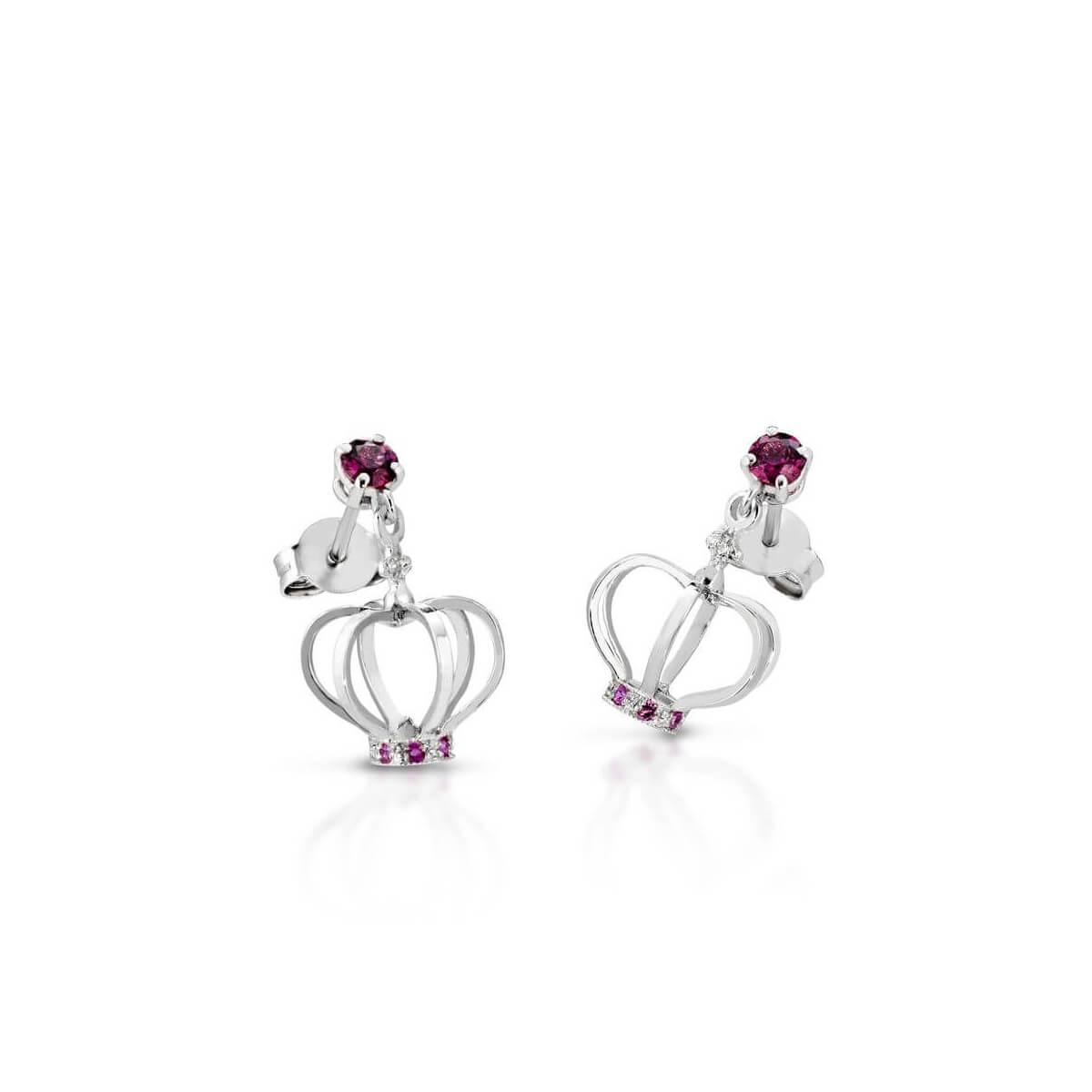 Rhodolite and pink sapphire earrings