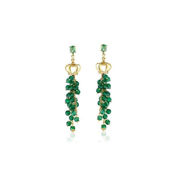 Emerald, green agate and 8/8 diamond cut earrings