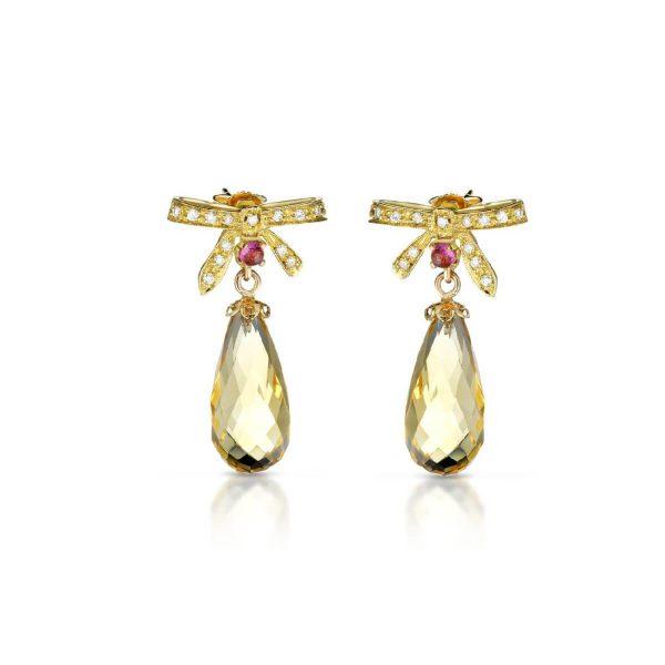 Hydrothermal quartz, tourmaline and diamond earrings