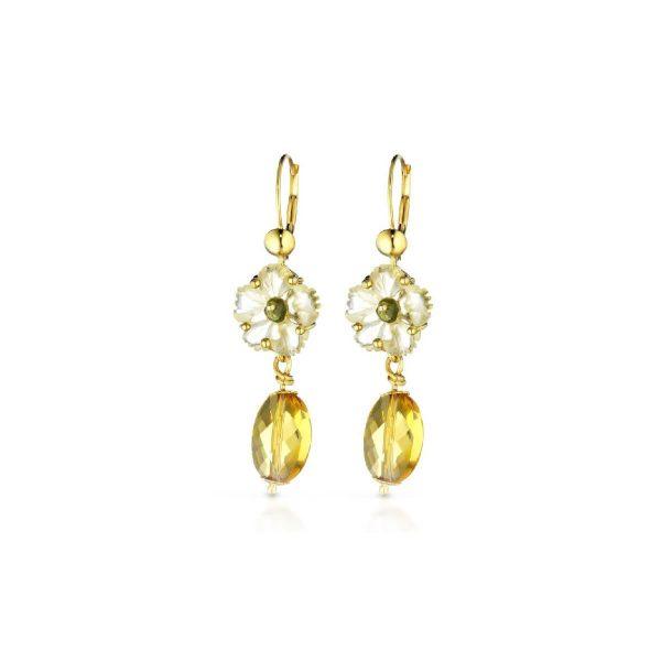 Hydrothermal quartz and tourmaline Flower-En earrings